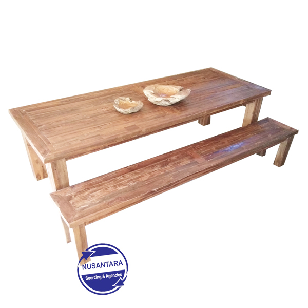 RECLAIMED TEAK TABLE WITH BENCH 200CM
