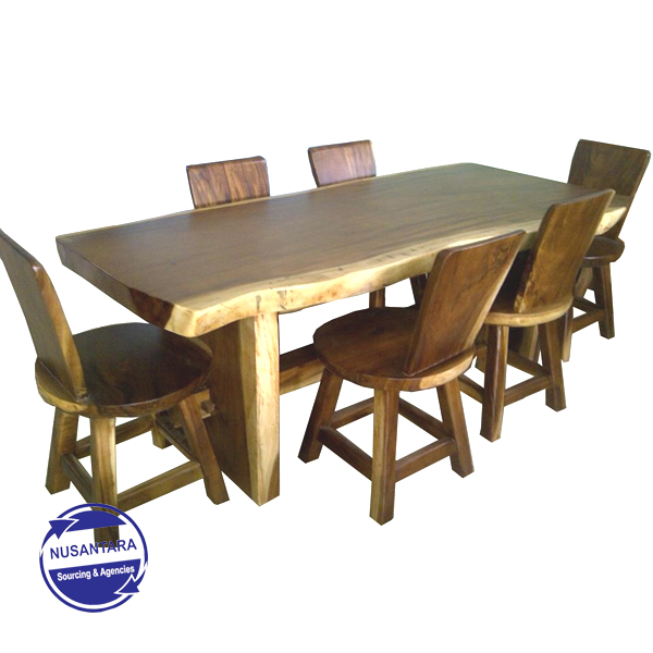 Live Edge Suar Wood Dining Table Donat