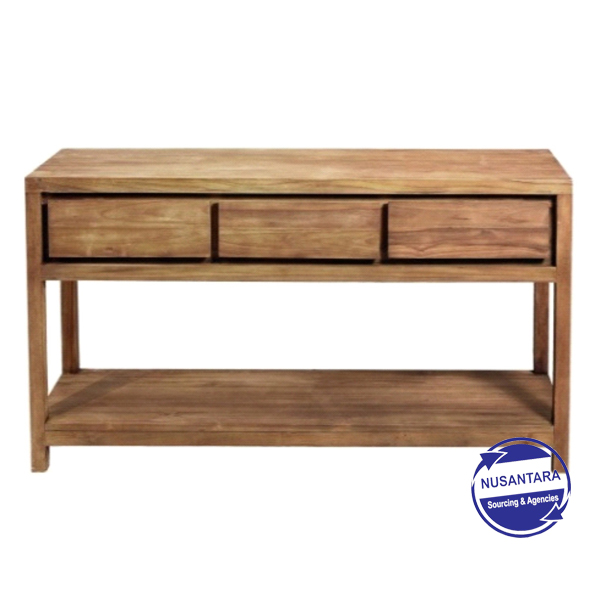 RECYCLED TEAK CONSOLE 3 DRAWER 1 SHELF