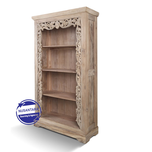 Balinese Carving Open Bookcase
