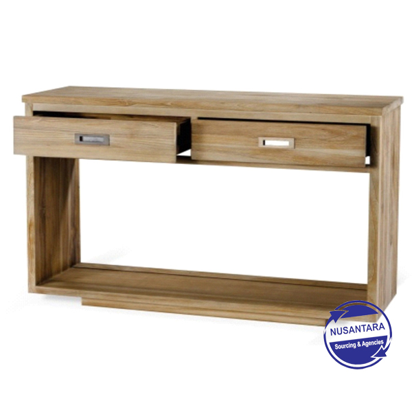 RECYCLED TEAK CONSOLE 2 DRAWER