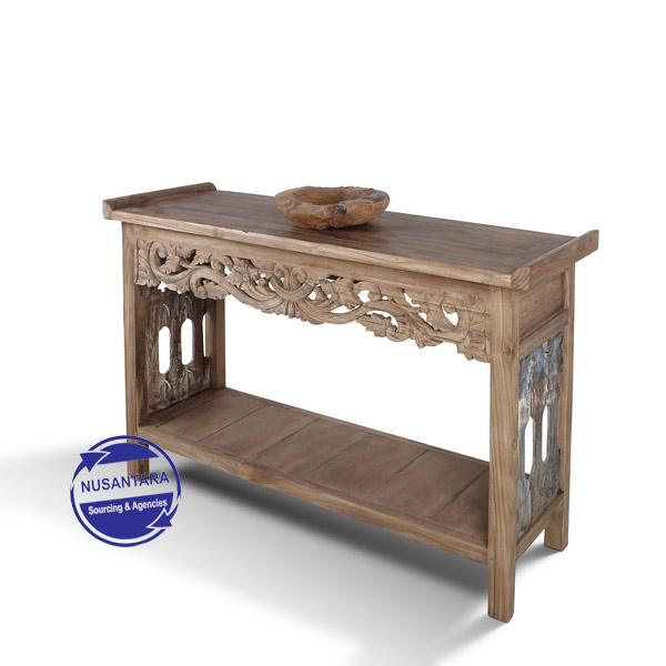 JAVA WOOD CONSOLE WITH CARVING
