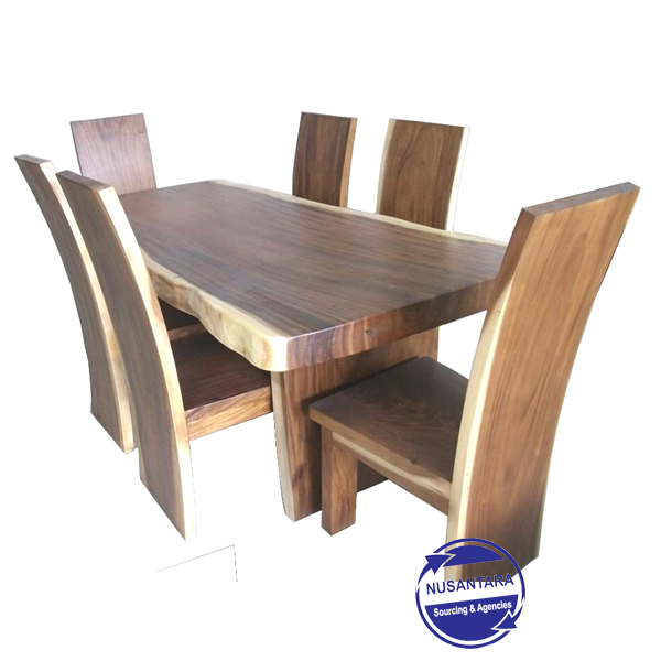 Live Edge Suar Wood Dining Table Santai