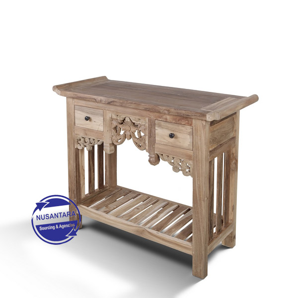 BALINESE CARVING CONSOLE 2 DRAWER