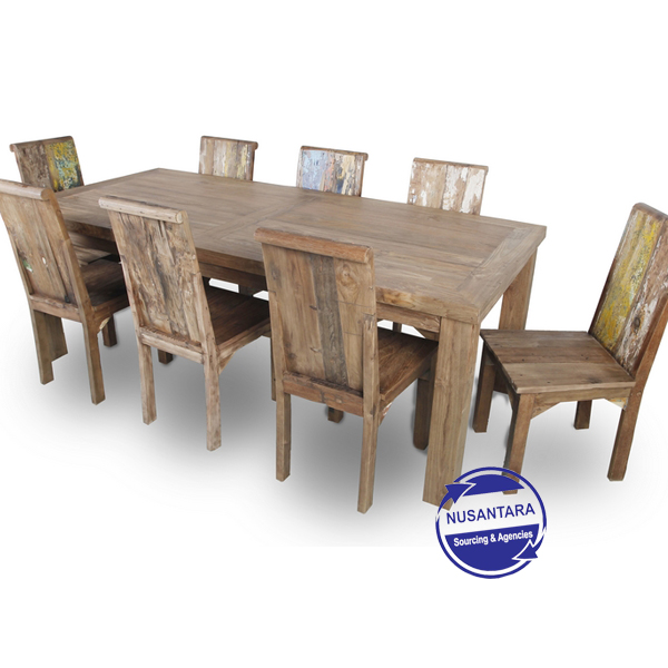 RECYCLED TEAK DINING TABLE 8 SEATERS