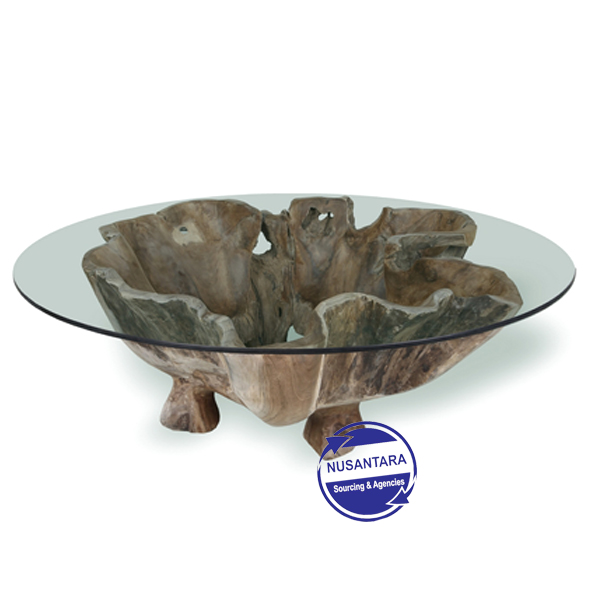 TEAK ROOT COFFEE TABLE ROUND FLOWER SHAPE