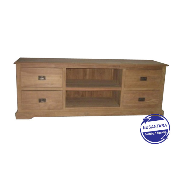 RECYCLED TEAK TV CABINET 4 DRAWERS